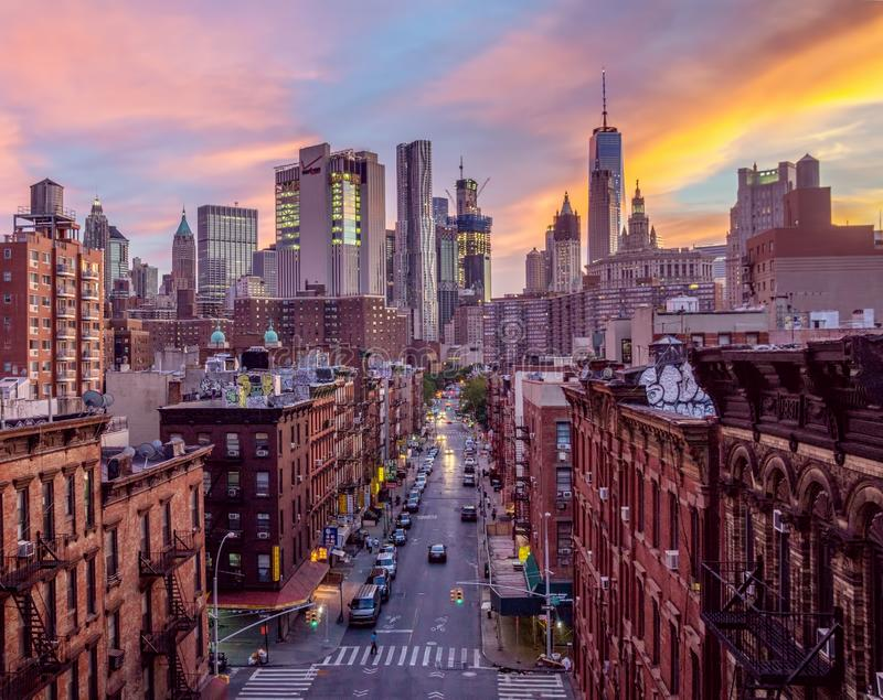 Lower Manhattan, Chinatown, NYC at Dusk. Scenic view of lower Manhattan in NYC, specifically Chinatown, at dusk stock photography