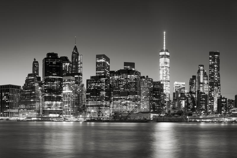 Lower Manhattan Financial District skyline at dusk, New York City stock photos
