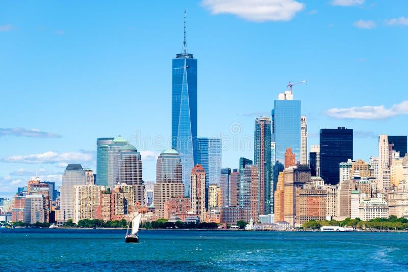 Lower Manhattan linia horyzontu w Miasto Nowy Jork zdjęcia stock