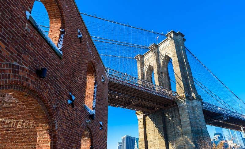 Lower Manhattan linii horyzontu W centrum panorama od mosta brooklyńskiego parka riverbank, Miasto Nowy Jork, usa zdjęcie stock
