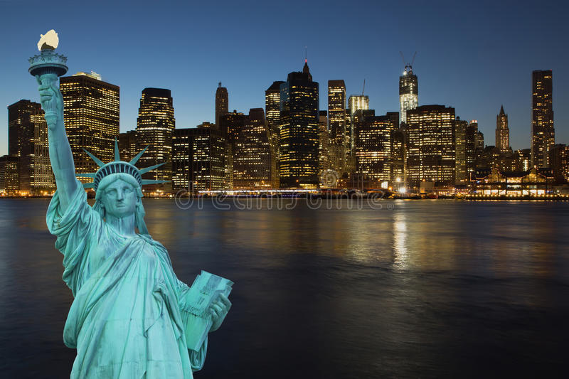 Lower Manhattan in the night royalty free stock image