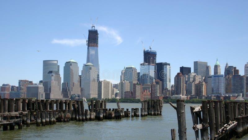 Lower Manhattan Over Pier Royalty Free Stock Photos