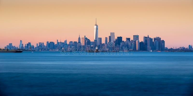 Lower Manhattan Panoramic Sunset from New York City Harbor royalty free stock photos