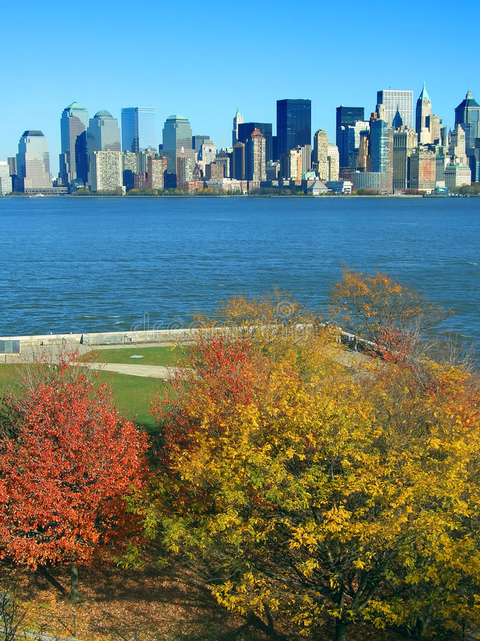 Download Lower Manhattan Seen From Liberty Island Stock Image - Image: 1713159