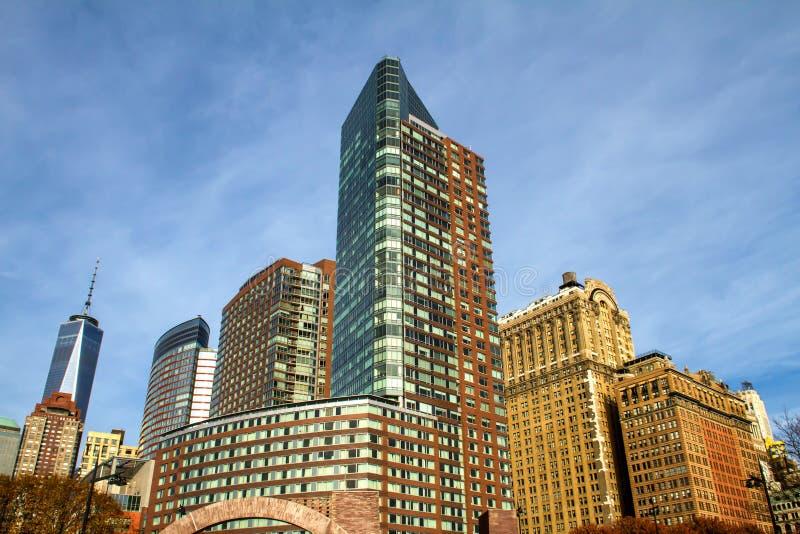 Lower Manhattan sikt från batteriet parkerar, New York arkivbild