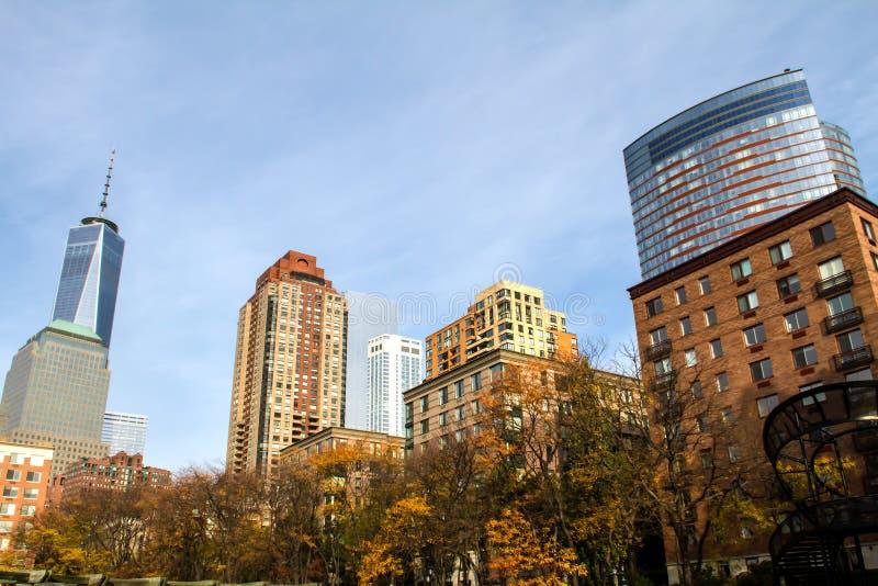 Lower Manhattan sikt från batteriet parkerar, New York royaltyfria foton