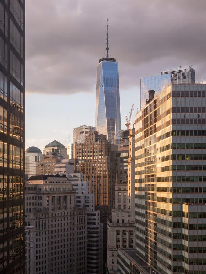 Lower Manhattan Skyline. Aerial view of the lower Manhattan Skyline in New York City stock images