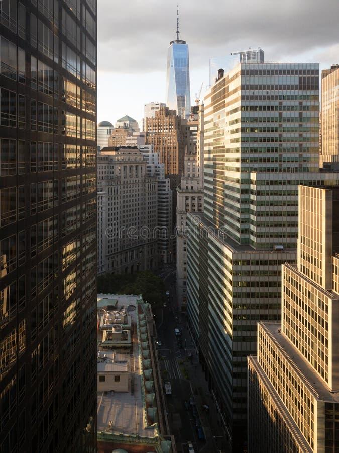 Lower Manhattan Skyline. Aerial view of the lower Manhattan Skyline in New York City stock image