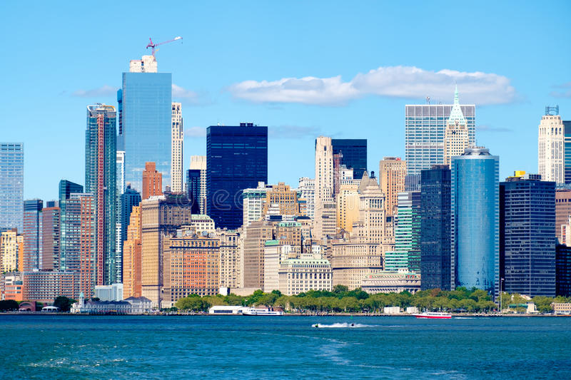 The Lower Manhattan skyline and Battery Park in New York City stock images