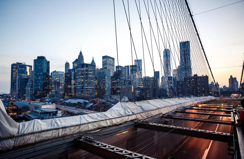 Lower Manhattan skyline from Brooklyn Bridge. Panoramic image of lower Manhattan skyline taken from Brooklyn Bridge stock photos