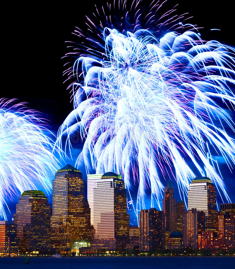 Download The Lower Manhattan Skyline And Fireworks Stock Image - Image: 13710597