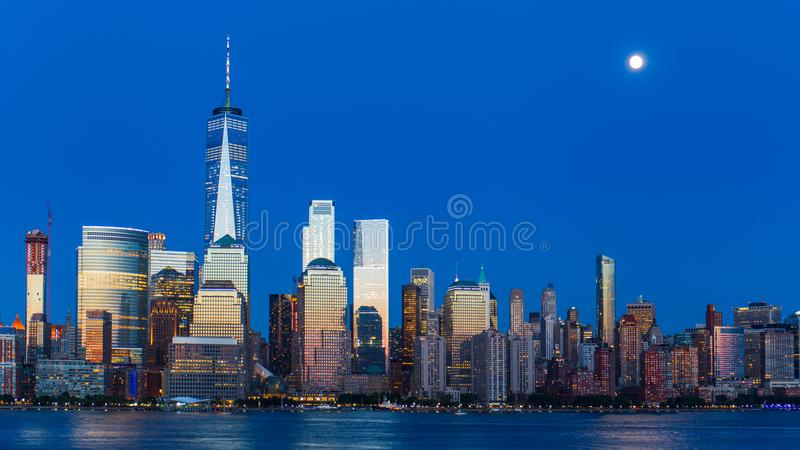Lower Manhattan Skyline at blue hour, NYC stock photo
