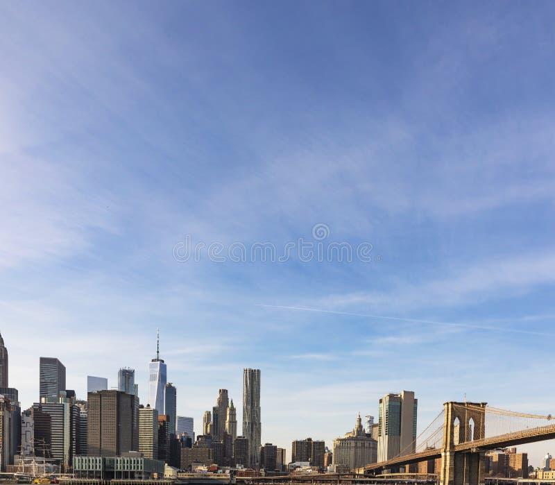Lower Manhattan Skyline view from Brooklyn Bridge Park stock image