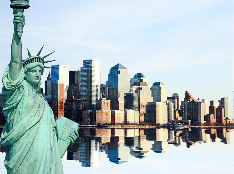 The Lower Manhattan Skylines stock photo