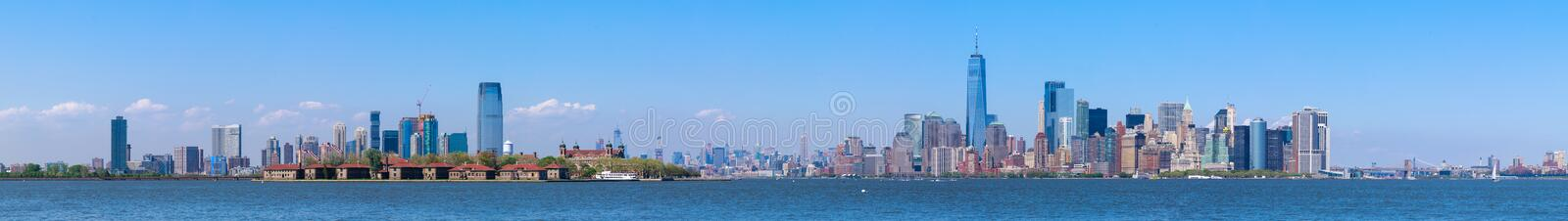 Lower Manhattan skyscrapers and One World Trade Center. New York City stock image