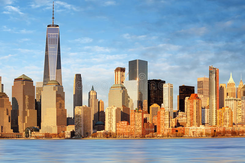 Lower Manhattan skyscrapers and One World Trade Center, New York. City royalty free stock images