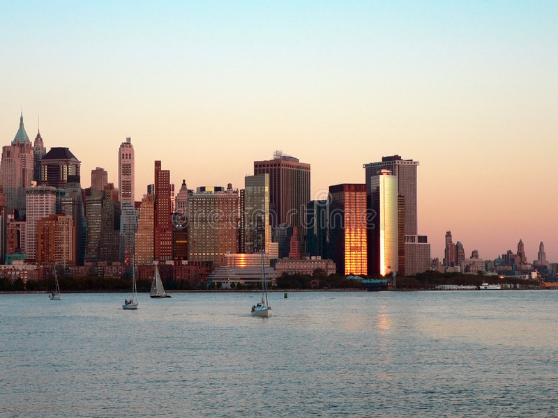 Download Lower Manhattan at Sundown stock photo. Image of sunset - 1778156