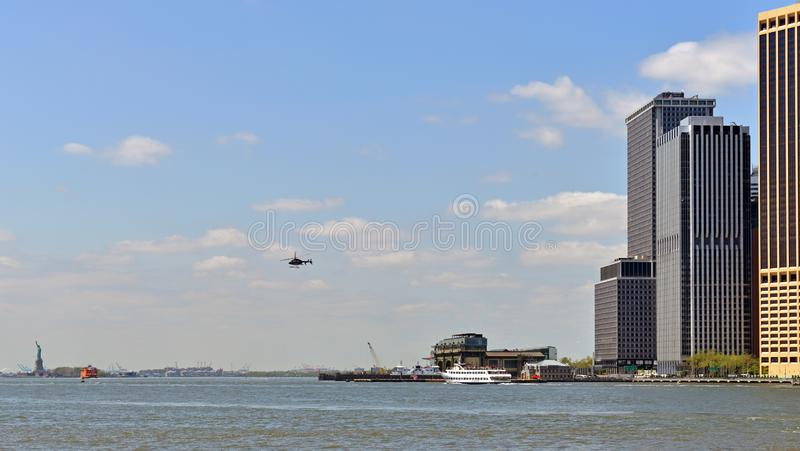 Lower Manhattan, Upper New York Bay and  Statue of Liberty in distance, New York, United States royalty free stock images