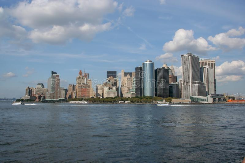 Lower Manhattan widok od Staten Island promu, Nowy Jork obrazy stock
