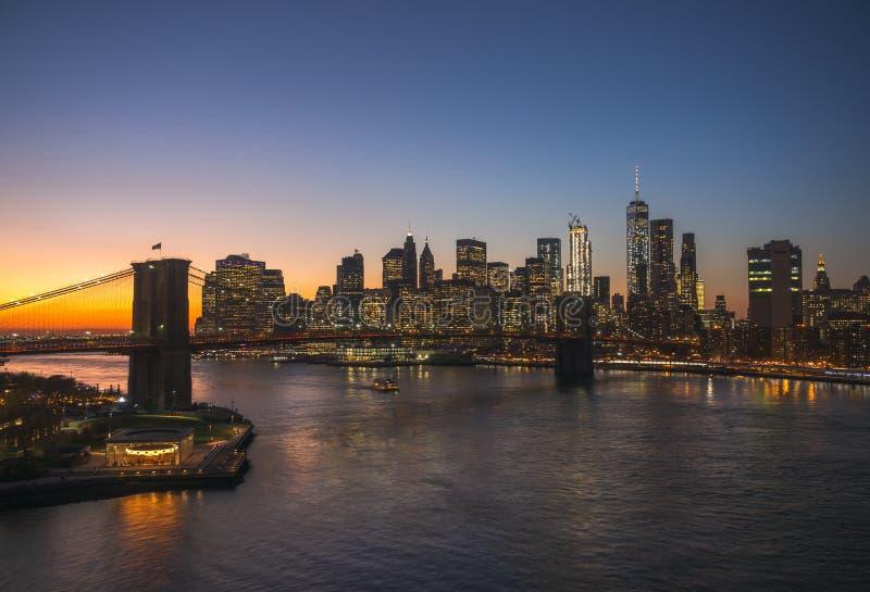 Lower Manhattansonnenuntergang stockbild