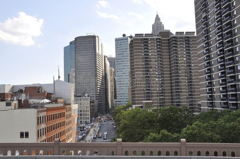 Lower Manhattanwolkenkrabbers van de Stad van New York in Verenigde Staten stock foto's