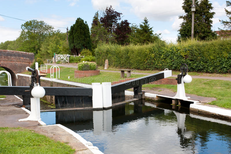 Lower Maunsel Lock. On the Bridgwater and Taunton Canal Somerset England UK stock photo