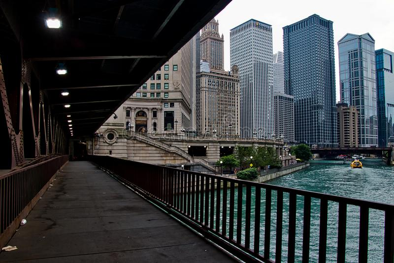 Lower Michigan Avenue Bridge with view of Chicago River in downtown Chicago Loop. Chicago, IL / USA - 7/31/18: Lower Michigan Avenue Bridge with view of Chicago stock photo