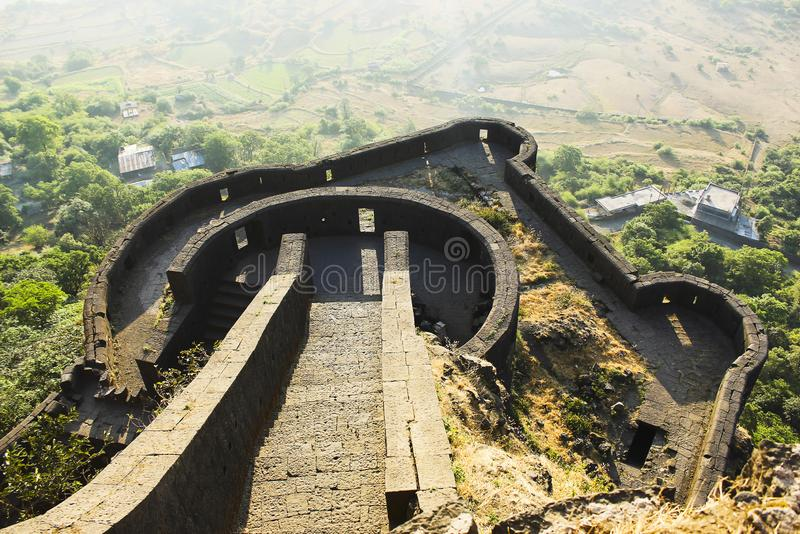 Lower ramparts of Lohagad Fort, Pune district, Maharashtra, India. Lower ramparts of Lohagad Fort in Pune district, Maharashtra, India royalty free stock image