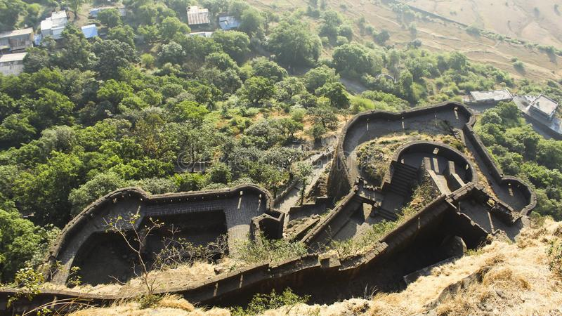 Lower Ramparts of Lohagad Fort, Pune district, Maharashtra, India. Lower Ramparts of Lohagad Fort in Pune district, Maharashtra, India stock images