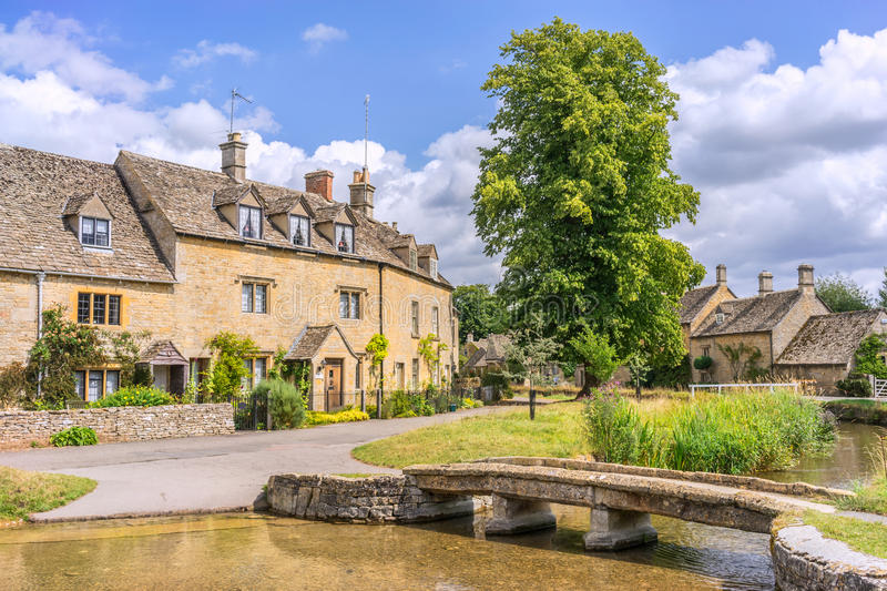 Lower Slaughter. The English Cotswolds village of Lower Slaughter royalty free stock images