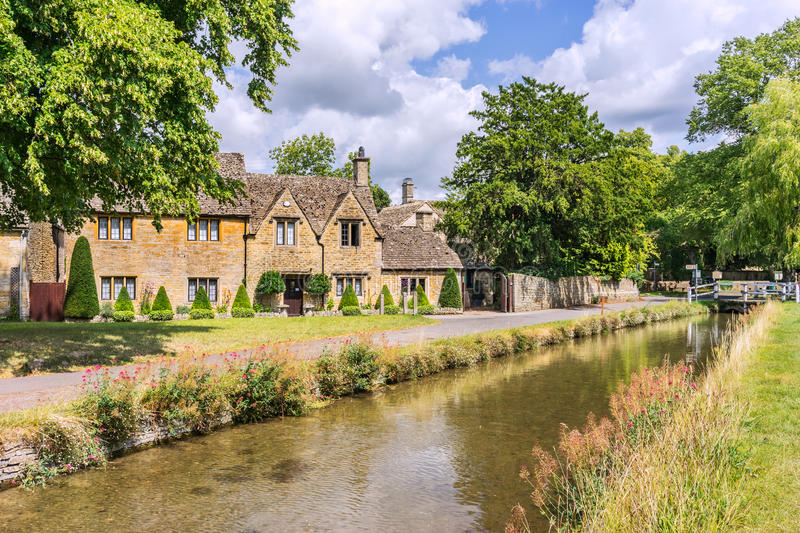 Lower Slaughter. The English Cotswolds village of Lower Slaughter stock photos