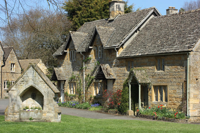 Lower Slaughter, Gloucestershire. Cotswolds village scene. Lower Slaughter, Gloucestershire, UK royalty free stock image