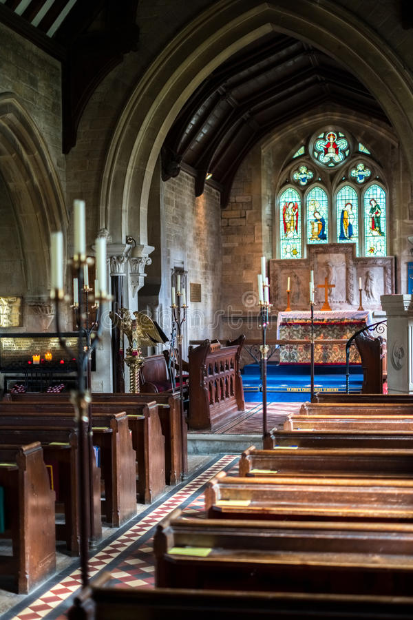 LOWER SLAUGHTER, GLOUCESTERSHIRE/UK - MARCH 24 : Interior View o. F St. Mary`s Church in Lower Slaughter in the Cotswolds in Gloucestershire on March 24, 2017 royalty free stock photo