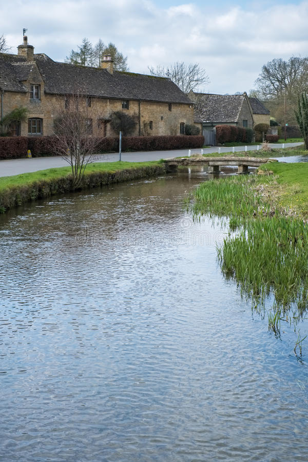 LOWER SLAUGHTER, GLOUCESTERSHIRE/UK - MARCH 24 : Scenic View of. Lower Slaughter Village in the Cotswolds in Gloucestershire on March 24, 2017 stock image
