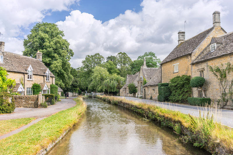 Lower Slaughter. The high street of Lower Slaughter in the Cotswolds stock photo