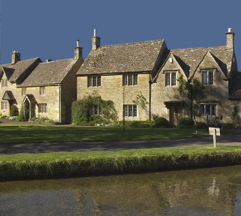 Lower slaughter village. The river eye lower slaughter village the cotswolds gloucestershire uk royalty free stock photography