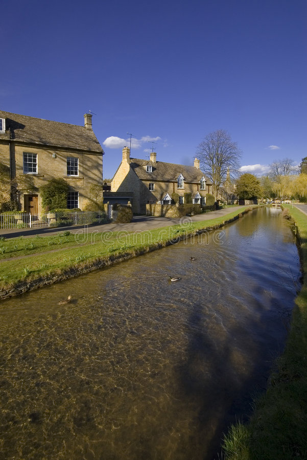 Lower Slaughter Village The Cotswolds stock photo