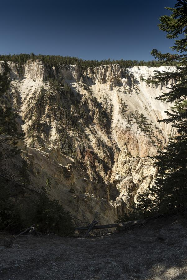 Lower Yellowstone Falls valley cliffs near Artist`s point. Yellowstone Falls consist of two major waterfalls on the Yellowstone River, within Yellowstone stock image