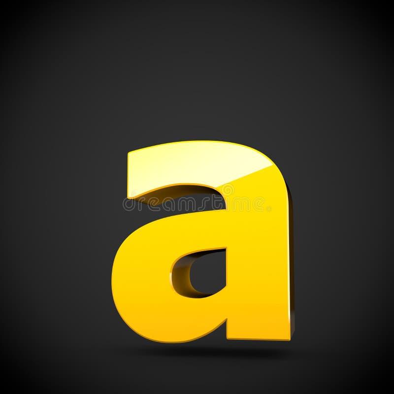 Lowercase amarelo lustroso da letra A da pintura com reflexão do softbox ilustração do vetor