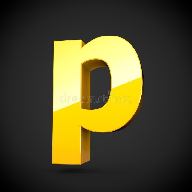 Lowercase amarelo lustroso da letra P da pintura com reflexão do softbox ilustração do vetor