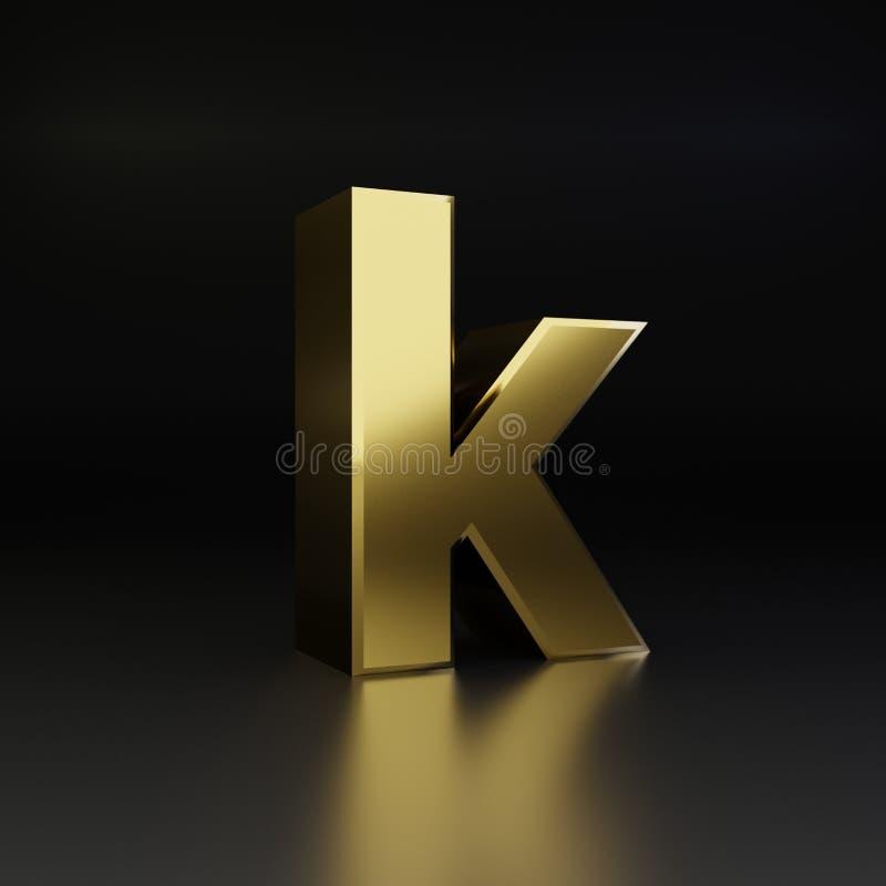 Lowercase dourado da letra K 3D rendem a fonte brilhante do metal isolada no fundo preto ilustração do vetor