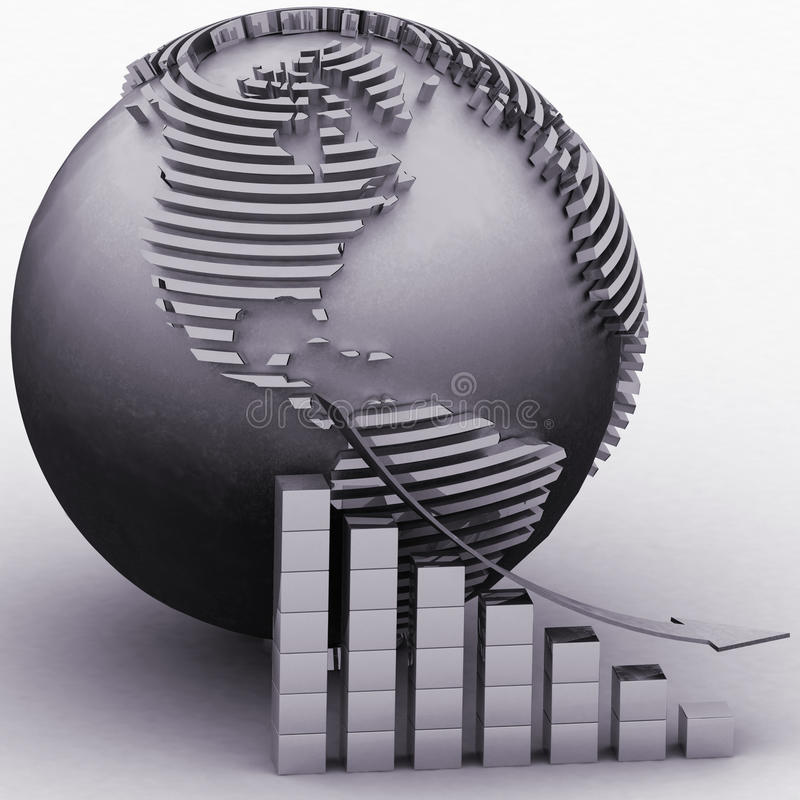 Lowering chart with a pointer on a background a globe royalty free illustration