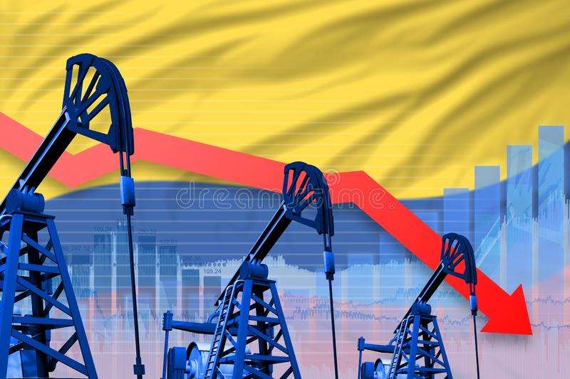 Lowering, falling graph on Colombia flag background - industrial illustration of Colombia oil industry or market concept. 3D Illus vector illustration