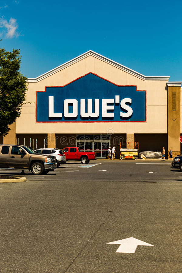 Lowes Home Improvement Retail Store. Lancaster, PA - September 7, 2016: A Lowes American Home Improvement and building supplies retailer store in Lancaster royalty free stock photo