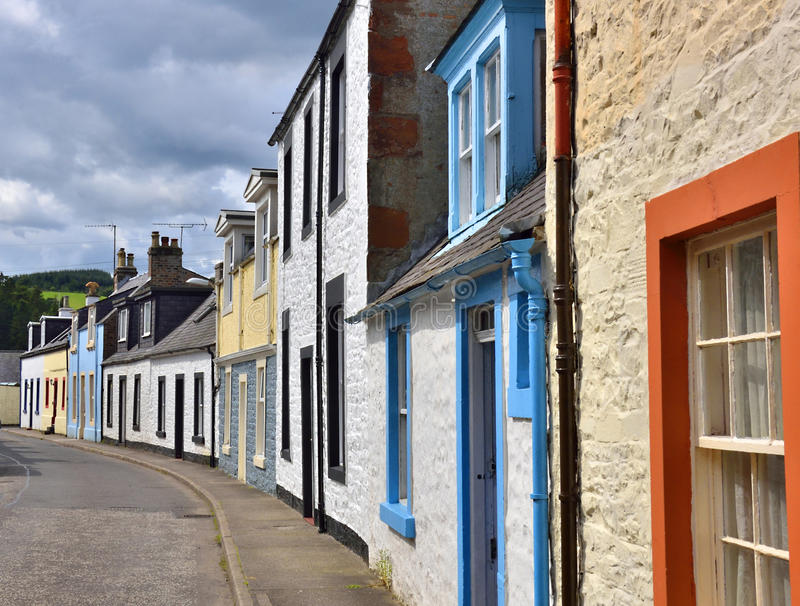 Lowland Scottish town street. Street in the lowland Scottish town of Moffat, Dumfries and Galloway, showing variety of traditional building styles with colourful stock photo