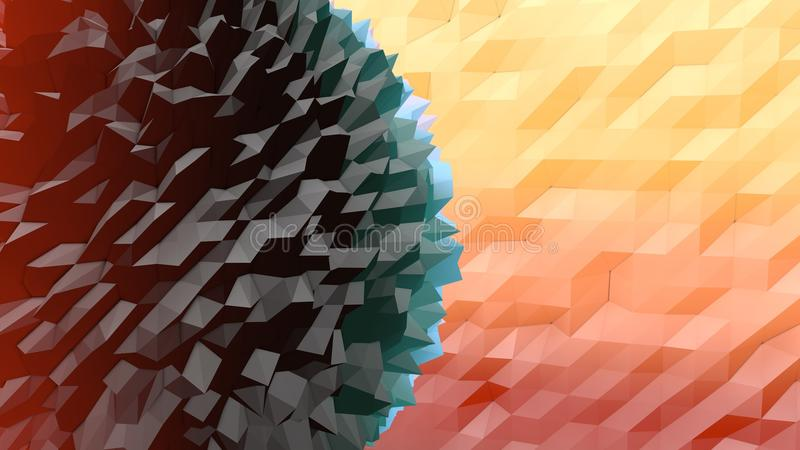 Lowpoly Backdrop with Hedgehog Ball. An amazing 3d illustration of a peach, pink, yellow and black lowpoly backdrop with a triangular and rhombus forms. One big royalty free illustration