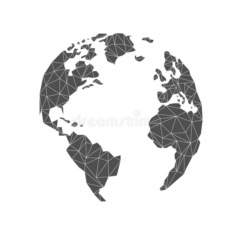Lowpoly globe. America, Europe, Atlantic Ocean. vector illustration
