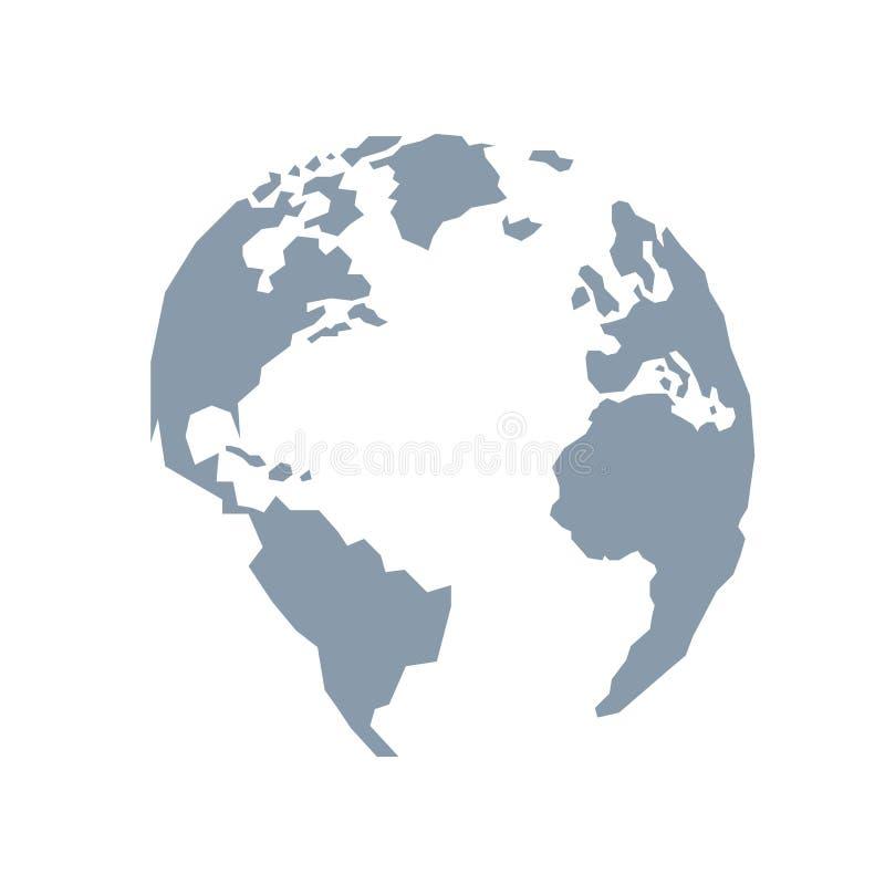 Lowpoly kula ziemska Ameryka, Europa, Atlantycki ocean Błękitny popielaty ilustracja wektor