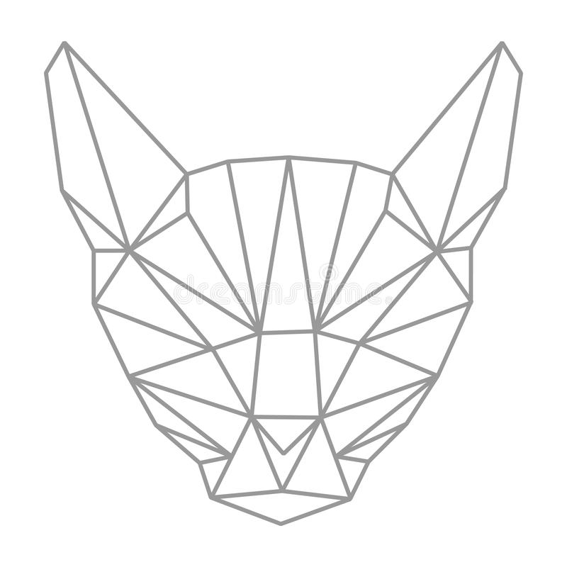 Lowpolygonal geometry, cat head. Outline style. Simple. Flat. Is. Olated. Vector illustration. Light background. Eps10 royalty free illustration