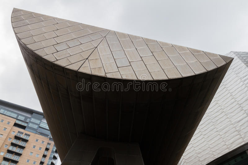 Lowry Center modern architectural building at the Salford Quays. Manchester, England - June 12, 2016: View of a Lowry Center modern architectural building at the stock photo